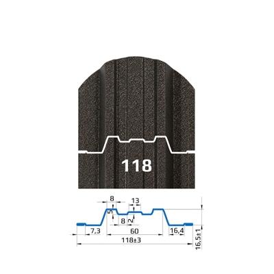 Металлоштакетник Трапеция-усиленный (118 мм)